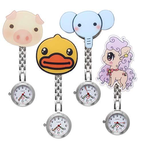 JSDDE Uhren 4X Krankenschwester FOB-Uhr Pflegeruhr Cartoon Tier Elefant Schwein Schwesternuhr Damen Taschenuhr Quarzuhr Uhren Set