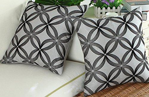 Cuscino imbottito cuscino casi 45,7x 45,7cm federe decorativi anelli cerchi geometrici floccata cross stripes strisce tessuto nero grigio argento 45x 45cm, black/silver gray, 18x18 inch(45x45cm)-2pcs