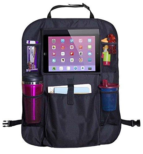 Premium AmbyLife Auto-Rücklehnenschutz, Rückenlehnen-Tasche, Trittschutz mit Rücksitz-Organizer, Schoner für Rücksitz mit iPad-Tablet-Halter, wasserdicht und passend für jedes Auto