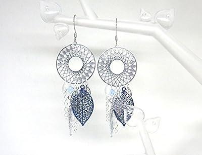 Boucles d'oreilles inspiration dreamcatcher attrape-rêves rosaces étoilées plumes feuilles bleu marine bleu clair argenté