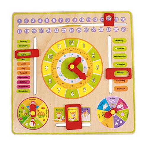 PowerBH Kinder Lernen Magnetische Kalender Multifunktionale Timer Spielzeug Holz Tier Blocks Pädagogisches Spielzeug Mit Wetter Monat Woche Saison Wissen