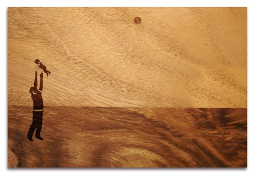 """Pension für Produkte Schneidebrett \""""Schöne Aussicht\"""" aus Akazienholz mit Lasergravur, Motiv Vater& Kind, 23 x 34 x 1,5 cm"""
