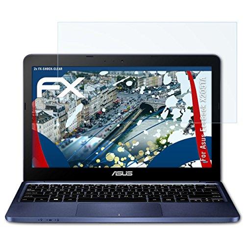 Asus X205 Notebook-pc (atFoliX Panzerfolie für Asus EeeBook X205TA Folie - 2 x FX-Shock-Clear stoßabsorbierende ultraklare Displayschutzfolie)