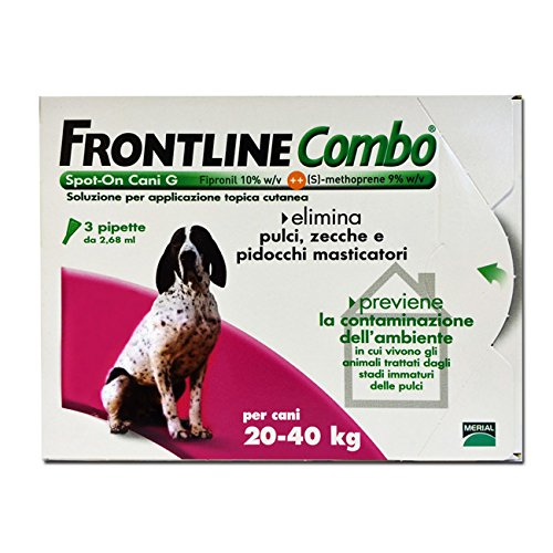 Antiparassitario frontline combo 3 dosi cani grandi 20-40 kg spot on antipulci