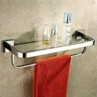 bagno in acciaio inox mensola del bagno parete di vetro cosmetici mensola portasciugamani singolo fotogramma specchio frontale - Lungo Un Fotogramma