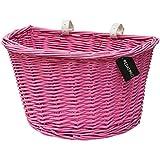 PedalPro - Cestino in vimini per bicicletta - con cinghie bianche in pelle - rosa