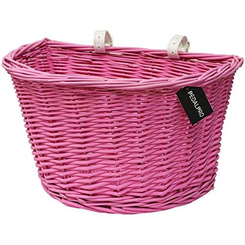 PedalPro - Geflochtener Fahrradkorb mit weißen Lederriemen - Pink