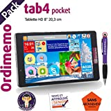 Tablette Senior ORDIMEMO TAB4 Pocket Pack 1/16 Go 8' 1280x800 Noir WiFi+Coque Eiffel+Stylet