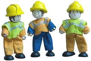 - Juego de 3 muñecos de la familia Budkins trabajador de la construcción de flexión