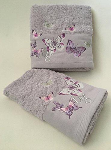 Set asciugamani 1+1 (viso 60x110 cm + ospite 40 x 60 cm ) - castadiva - colore glicine - ricamo con farfalle ed applicazioni swarovski
