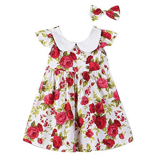 SMARTLADY Chicas Niñas Bebé Vestido flor Impresión + Venda Conjunto (12 meses, Rojo)