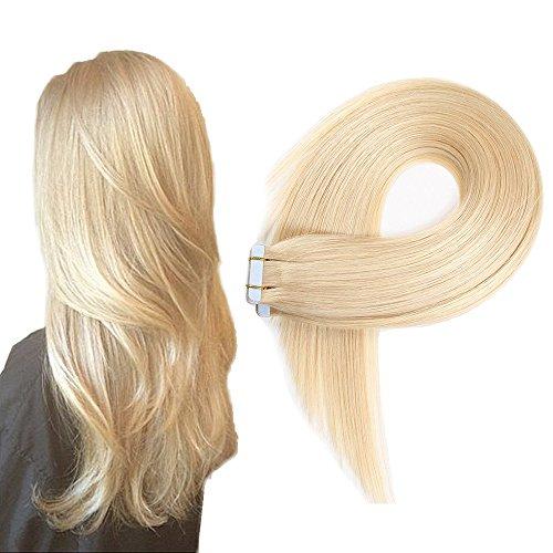 Extensions adesive lisce - con capelli veri 20 ciocche larghezza 4 cm lunghezza 40 45 50 55 60 cm (50cm, no.613 bionda chiara)