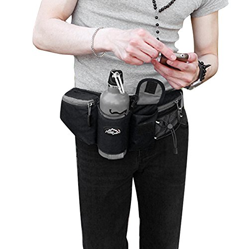 Multifunzione Marsupio sportivo zaino con porta bottiglia d' acqua denaro cintura per corsa, ciclismo, escursionismo Jogging viaggio, donna Uomo, Orange, S Black