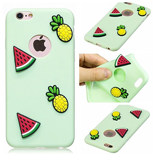 Coque iPhone 6 Plus Mignon 3D Hamburgers Fries Motif, Etui Apple iPhone 6S Plus (5,5 pouces) Housse de Protection TPU Souple Silicone Bumper Case Ultra Mince Premium Cover Anti-Rayures Anti Choc - Ble vert