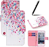 iPod Touch 6 Case,iPod Touch 5 Case,Flip Case for iPod Touch 6G / 5G - Ukayfe iPod Touch (5th / 6th Generation) Wallet Case - Colorful Flower Petals Design PU Leather Flip Protective Case Cover with Stand Folio Flip Leather Case for iPod Touch 5th / iPod Touch 6th Generation (2015) with 1 x Stylus - Flower Petals Patten