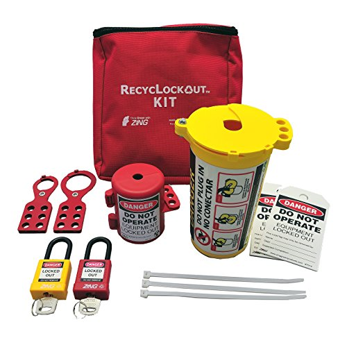 ZING 7121 RecycLockout Lockout Tagout Kit, 11 Component, Plug Lockout by Zing Green Products