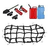 Sharplace Elastische Gepäcknetz + Öltank/Benzin Tank+Wasserkrug + Schaufel Satz für 1:10 Rc Rock Crawler