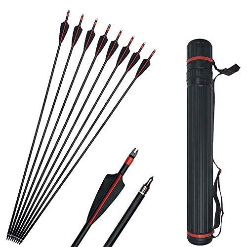SHARROW 12pcs Fiberglaspfeile Bogen und Pfeile 30 Zoll Bogenpfeile mit Pfeilköcher für Recurvebogen und Compoundbögen Bogenschießen Bogensport