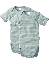 wellyou, 2er Set Kinder Baby-Body Kurzarm-Body, hell-blau neon-gelb gestreift, geringelt, für Jungen und Mädchen, Feinripp 100% Baumwolle