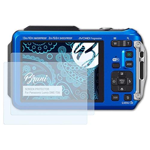 Bruni Schutzfolie kompatibel mit Panasonic Lumix DMC-TS6 Folie, glasklare Displayschutzfolie (2X)