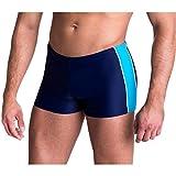 Aquarti Herren Badeshorts Kurz mit Seitlichem Streifen, Farbe: Dunkelblau / Blau, Größe: 8XL (Taille ca. 149 cm)