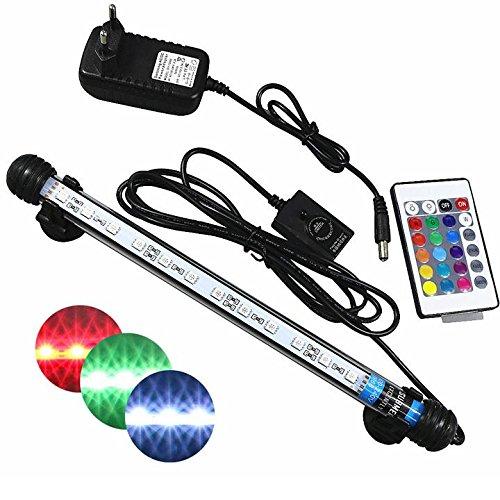 Mingdak Fernbedienung Aquarium-Licht-Kit LED für Aquarium, Unterwasser-Kristallglas-Leuchten geeignet für Salzwasser und Süßwasser, 12 LED, flexible Farbeänderungsbeleuchtung , 11-Zoll