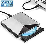 Externes CD DVD Laufwerk, XBoze [Umfassendes Upgrade] USB 3.0 Slim Tragbares Externer DVD Brenner Rewriter Player Burner Drive für Vista / 7 / 8.1 / 10, Laptop, Linux OS, Apple Macbook Air / Pro, Desktop (Silber)