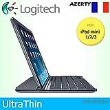 Logitech Étui à Clipser Ultra Fin magnétique pour Apple iPad Mini 1/2/3 Uniquement Motif Clavier français AZERTY Noir