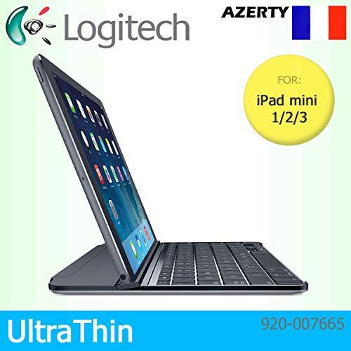 Logitech UltraThin Magnetische Clip-On Bluetooth-Schutzhülle für Apple iPad Mini 1/2/3, Azerty-Tastatur-Layout, Schwarz (1. Ipad Generation 32)