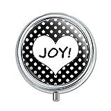 Joy Herz schwarz Polka Dots Hochzeit Brautschmuck Valentines Love Pille Fall Schmuckkästchen Geschenk-Box