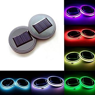 Autoboy 2PCS Universal Solar LED Auto Cup Halter Untersetzer mit USB wiederaufladbare Innendekoration Licht für Auto,SUV,LKW,Camper,Boot,7Farben