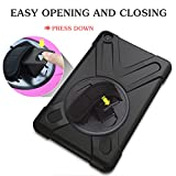 Zolten Shockproof Case for Amazon Kindle Fire HD 7 2017 - [Adjustable Strap] 360 Rotating Grip Stand Protective Carry Cover with Should Strap - Black