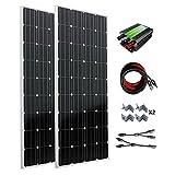 ECO-WORTHY 300W monocristallin sur Grille Kit panneau solaire Tie: 2pcs 160W Mono Panneaux solaires 300W + cravate de grille Power Inverter + câble solaire...