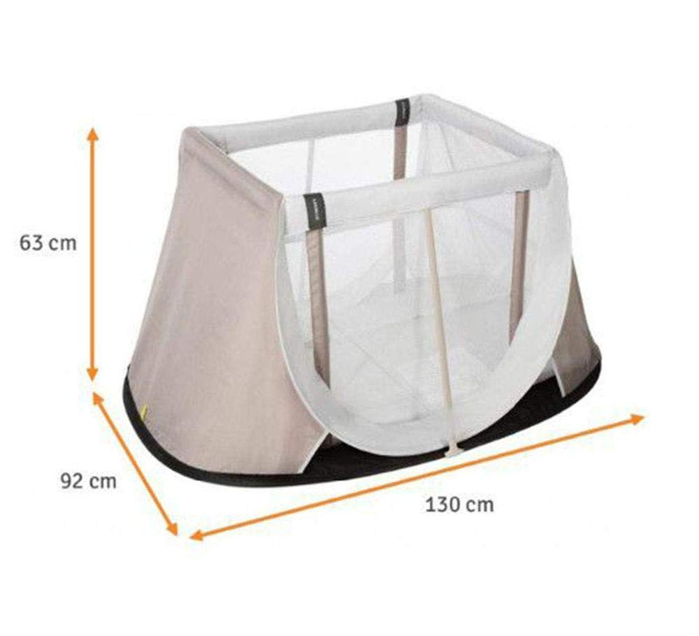 AEROMOOV - Instant Travel Bed - Allows Your Child to take a nap Wherever You are - Light and Compact - White Sand AeroMoov COMPACT AND LIGHT: No more carrying a heavy and bulky travel bed! The AeroMoov Instant Travel Bed weighs less than 5kg and is easy to store thanks to its slim and elegant storage bag. TO BE TAKEN EVERYWHERE: At Grandma and Grandpa's, on the beach or in your garden, allow your little one to take a pleasant nap or play, without ever losing sight of him thanks to the transparent sides. FAST ASSEMBLY AND STORAGE: Installing your Instant Travel Bed becomes child's play. Mount and dismantle it in just 2 seconds. 5