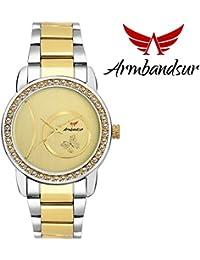 Armbandsur silver & golden strap golden dial watch- ABS0042GGG