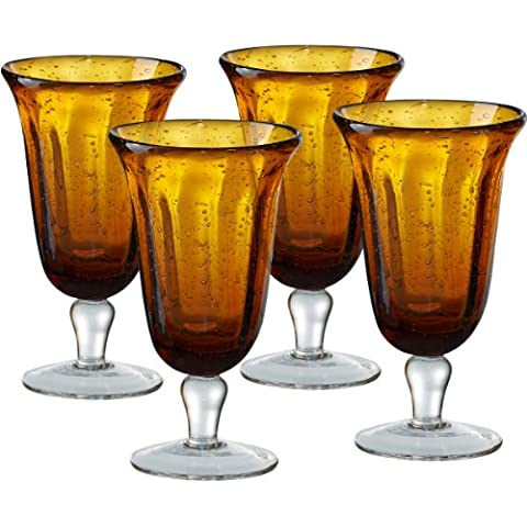 Artland Savannah Amber Bubble Glass Goblet, Set of 4 by