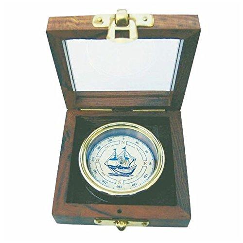 Kompass mit Schiffs-Windrose in edler Holzbox mit Glasdeckel