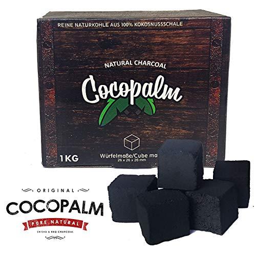 cocopalm 1 KG | Shisha Naturkohle aus 100% Kokosnuss - 180 Minuten Brenndauer | starke Hitze | kein Eigengeschmack (Shisha E-kohle)