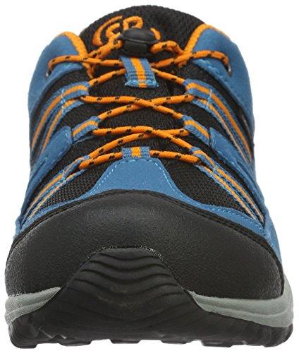 EB-Kids 421060, Chaussures de Randonnée Basses Mixte Enfant Bleu (Petrol/Schwarz/Orange)