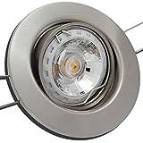 2er Set 3Watt Decken Einbaustrahler Milena 230Volt COB LED Warmweiß EEK A+ Schwenkbar Einbautiefe 65mm Farbe Matt-Chrom