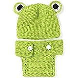 2pcs gorro + pantalones Lovely Animal Rana ropa para bebé invierno cálido niños mano recién nacido bebé niñas de fotografía Props