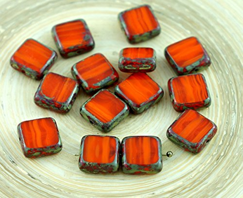 Amber Glas Schneiden (Picasso-Braun-Opal-Orange Gestreifte Halloween-Tisch-Cut-Rustikale Eckige Flache Tschechische Glas-Perlen 10mm 10er)
