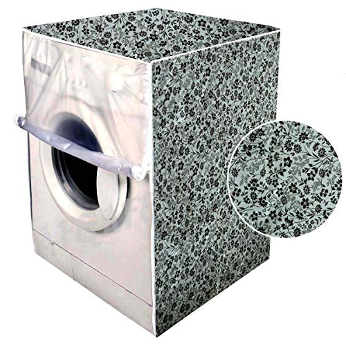 F&A Washing Machine Cover Front Load 6 KG to 7.5 KG Water Proof Dust Proof Small Flowers(Black & Grey)