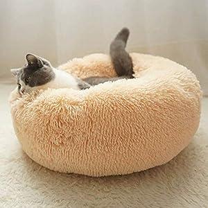 Hioowiu Warme Fleece Hundebett Runde Pet Lounger Kissen für kleine, mittelgroße Hunde Katze Winter Hundehütte Welpen Mat Beigegelb_70cm
