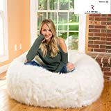 Mollismoons Without Beans Luxury Fur and Leather Bean Bag, Large (White)