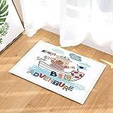 Enfant Décoration Sailor Bébé Ours Voile Aventure sur la mer Tapis de bain anti-dérapant Paillasson Entrée au sol Tapis de porte avant d'intérieur Tapis de bain pour enfants 60X40CM Accessoires de salle de bains