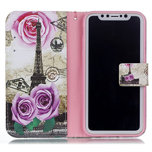 Protective Case Cover for iPhone X,iPhone X Coque PU Leather,iPhone X Neo Case,Hpory élégant Retro PU Cuir Cover Case Book Style Folio Flip Up Stand Fonction Support PU Leather Walllet Case with Credi 13#