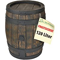 120l BARRIL DE LLUVIA - TONEL AGUA - DEPÓSITO AGUA DE LLUVIA con estructura de madera palpable en un diseño de madera muy bonito, engañosamente estructura de madera auténtica- CONTENEDOR AGUA - TANQUE AGUA