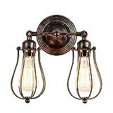 Wandlampe Retro Verstellbar Metall Wandlampe Antik Wandleuchte Vintage Lampen Landhausstil für Landhaus Schlafzimmer Wohnzimmer Esstisch (Gemalt mit Öl gerieben Bronze)