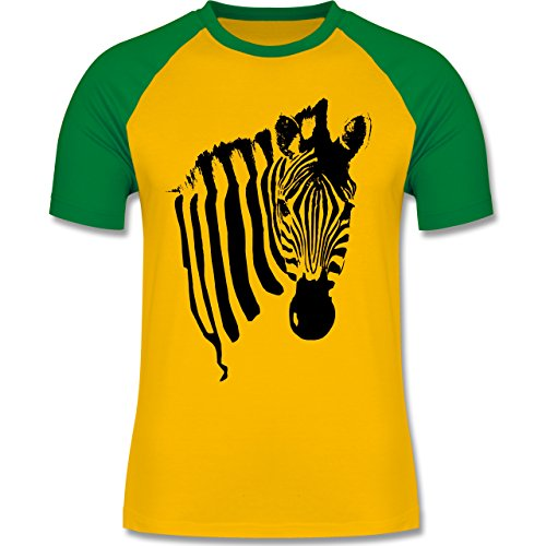 Shirtracer Wildnis - Zebra - Herren Baseball Shirt Gelb/Grün